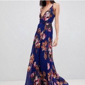 Pleated wrap maxi dress